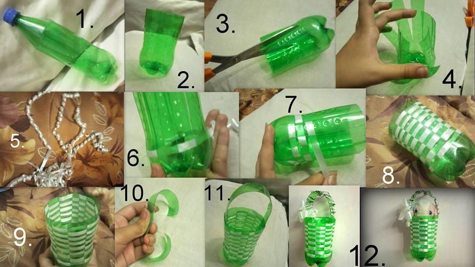 Diy Little Plastic Bottle Basket Diy Weaving Diy Crafts Plastic