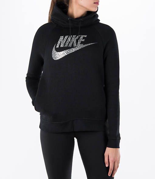 4fa3ea04ef64 ... Women s Nike Sportswear Rally Funnel Neck Metallic Hoodie - 829634  829634-010 Finish Line ...
