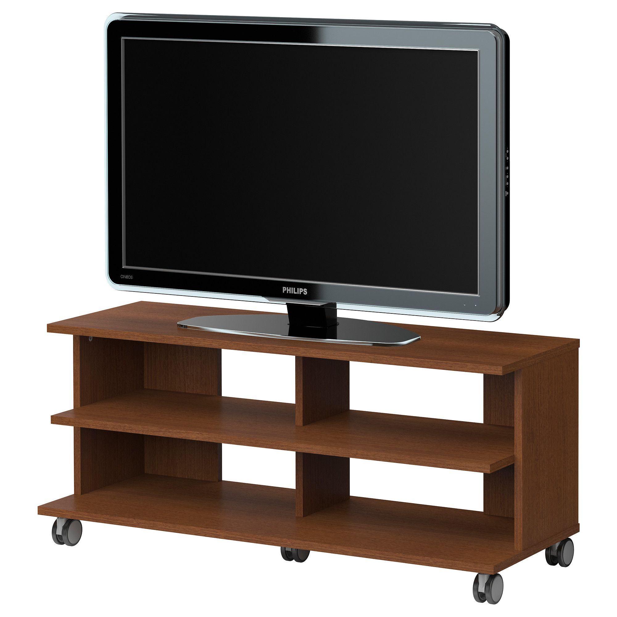 BENNO TV unit with casters medium brown IKEA