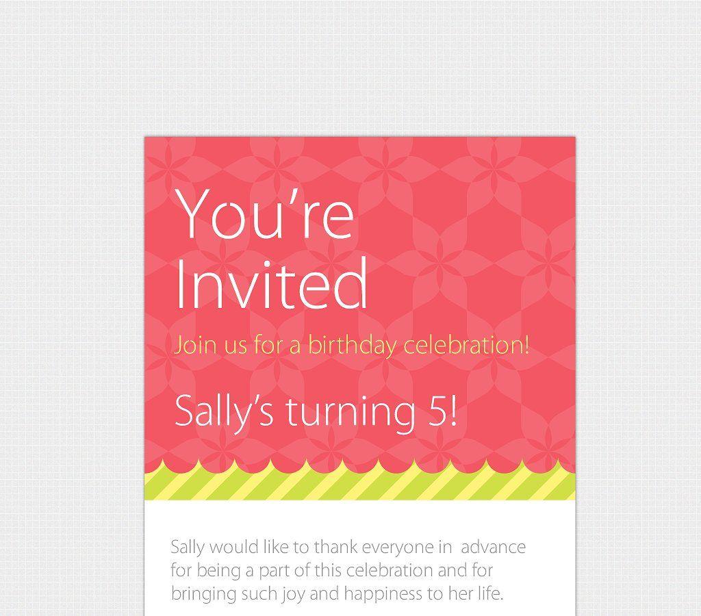 Birthday Invitation Template [Print] #Illustrator#Adobe#girls