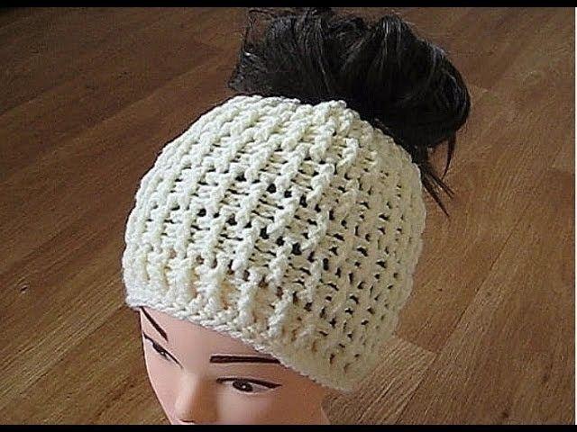 Crochet Messy bun hat crochet pattern (eng sub) CC for instructions ...