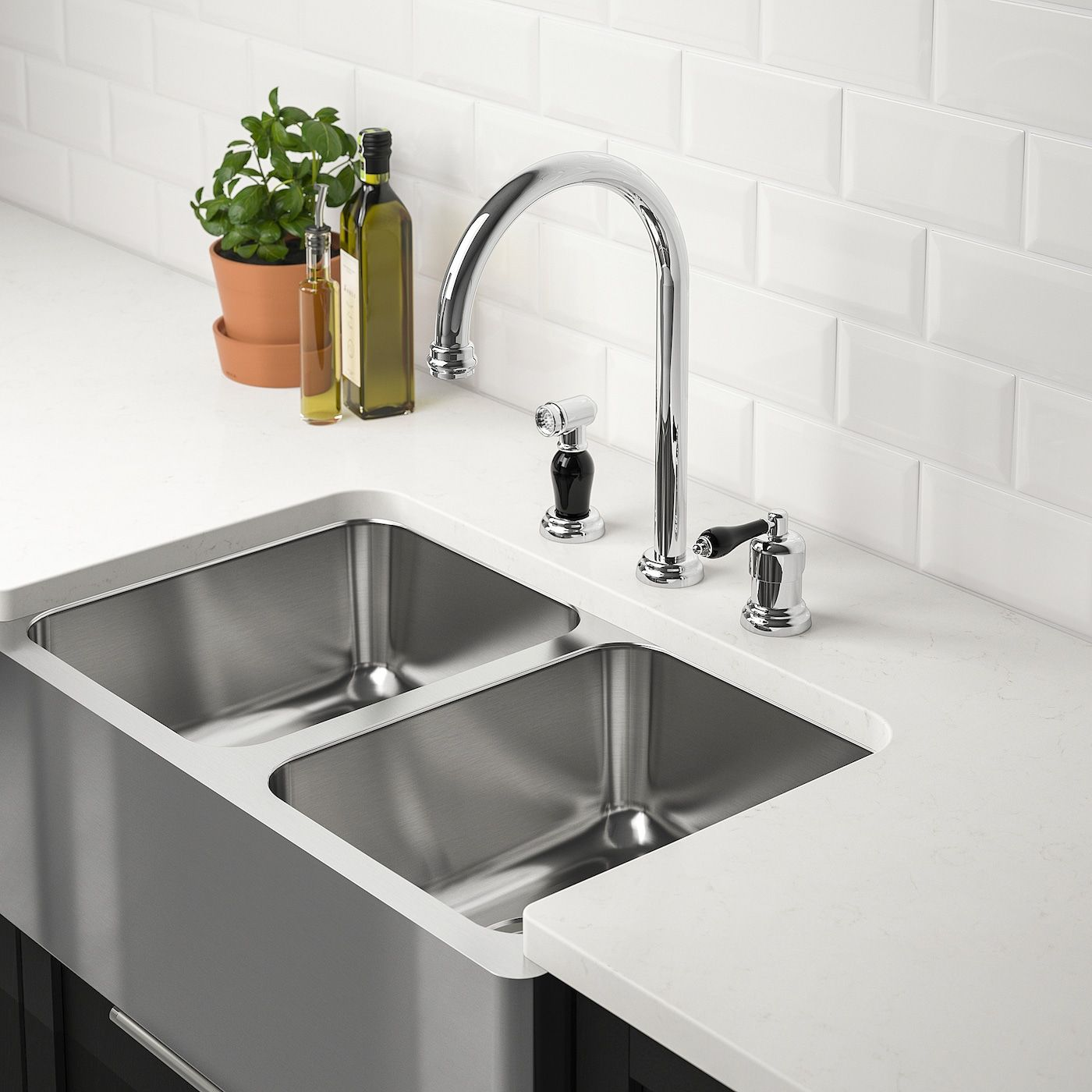 Bredsjon Apron Front Double Bowl Sink Under Glued Stainless Steel Ikea In 2020 Double Bowl Sink Double Kitchen Sink Double Bowl Kitchen Sink
