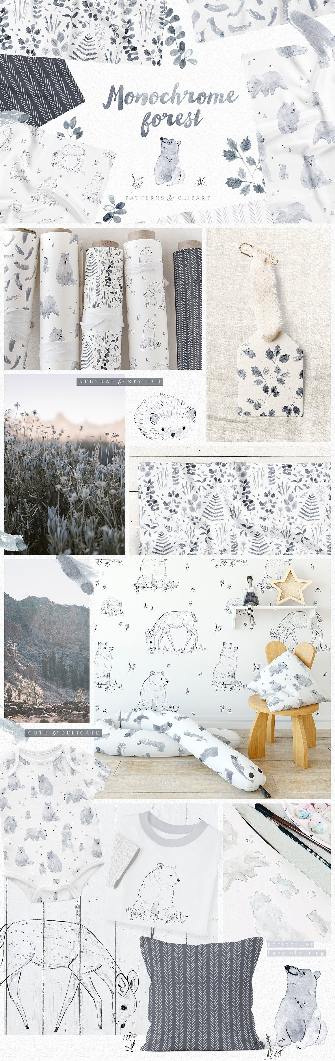 Monochrome Forest pattern collection