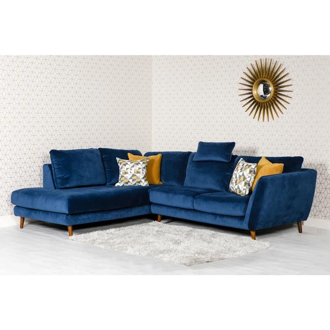 Blue Velvet Left Facing Corner Sofa 5 Seater Blue Corner Sofas Blue Sofa Living Blue Sofas Living Room