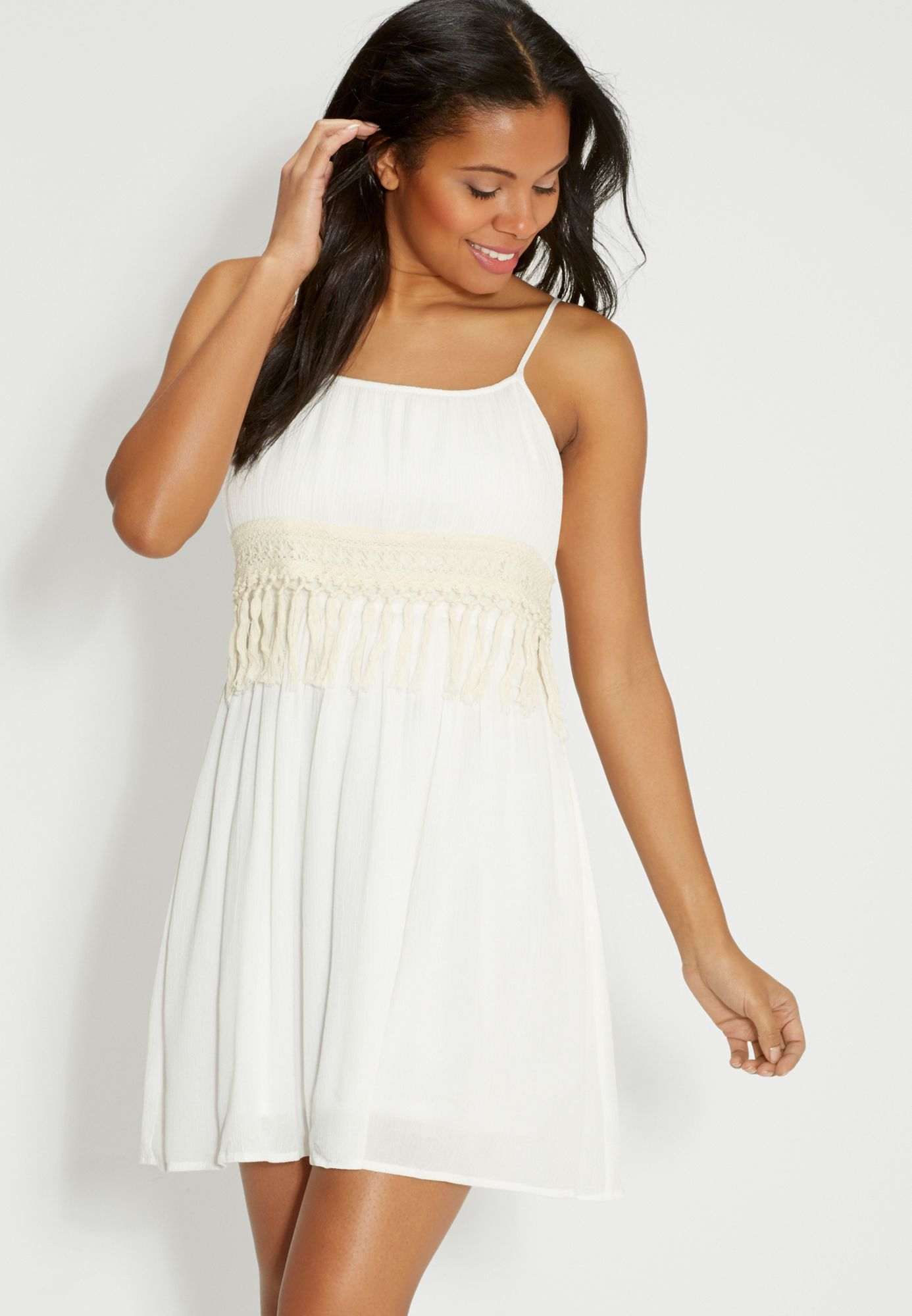lightweight dress with fringe available at #Maurices