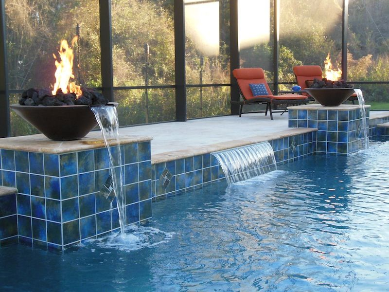Fire bowl water woks fire feature fire water pool for Pool fire bowls