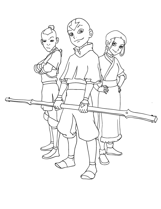 Avatar Aang And Friends  Avatar The Last Airbender Coloring pages