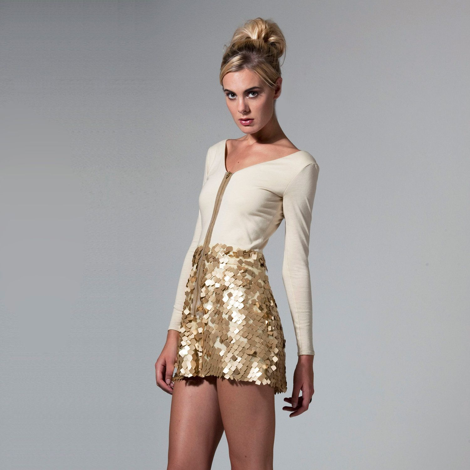 Gold sequins dress two piece dress made to order by thrdpalac