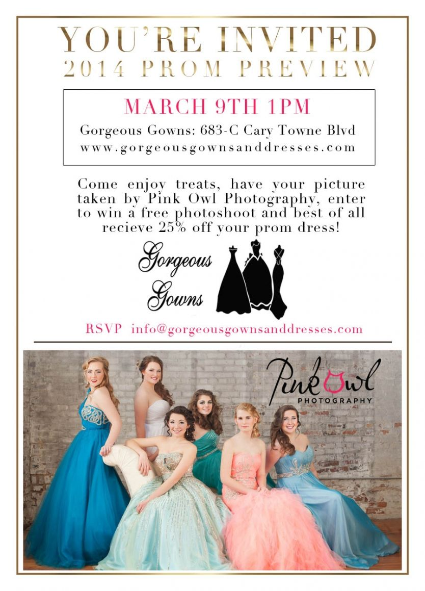 Gorgeous Gowns Prom Fashion Preview Sunday March 9th 1pm. Cary, NC ...