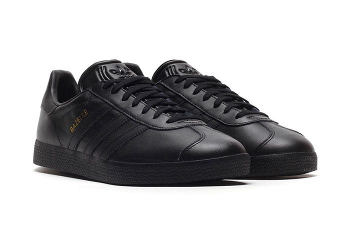 ADIDAS ORIGINALS GAZELLE Leather Trainers(Core Black