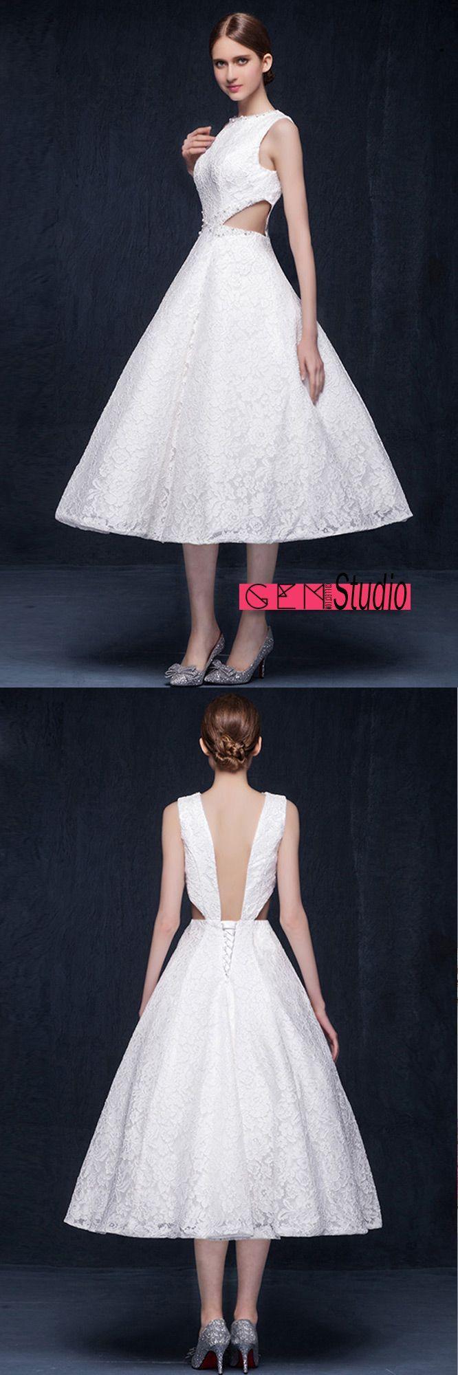 Vintage lace tea length wedding dresses backless aline high neck