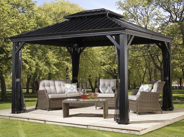Patio Sun Shelter Pool Furniture Gazebo 10 X 12 Ft Hardtop Steel Roof Garden Set Sales Home Garden Discounts Hardtop Gazebo Patio Gazebo Aluminum Gazebo