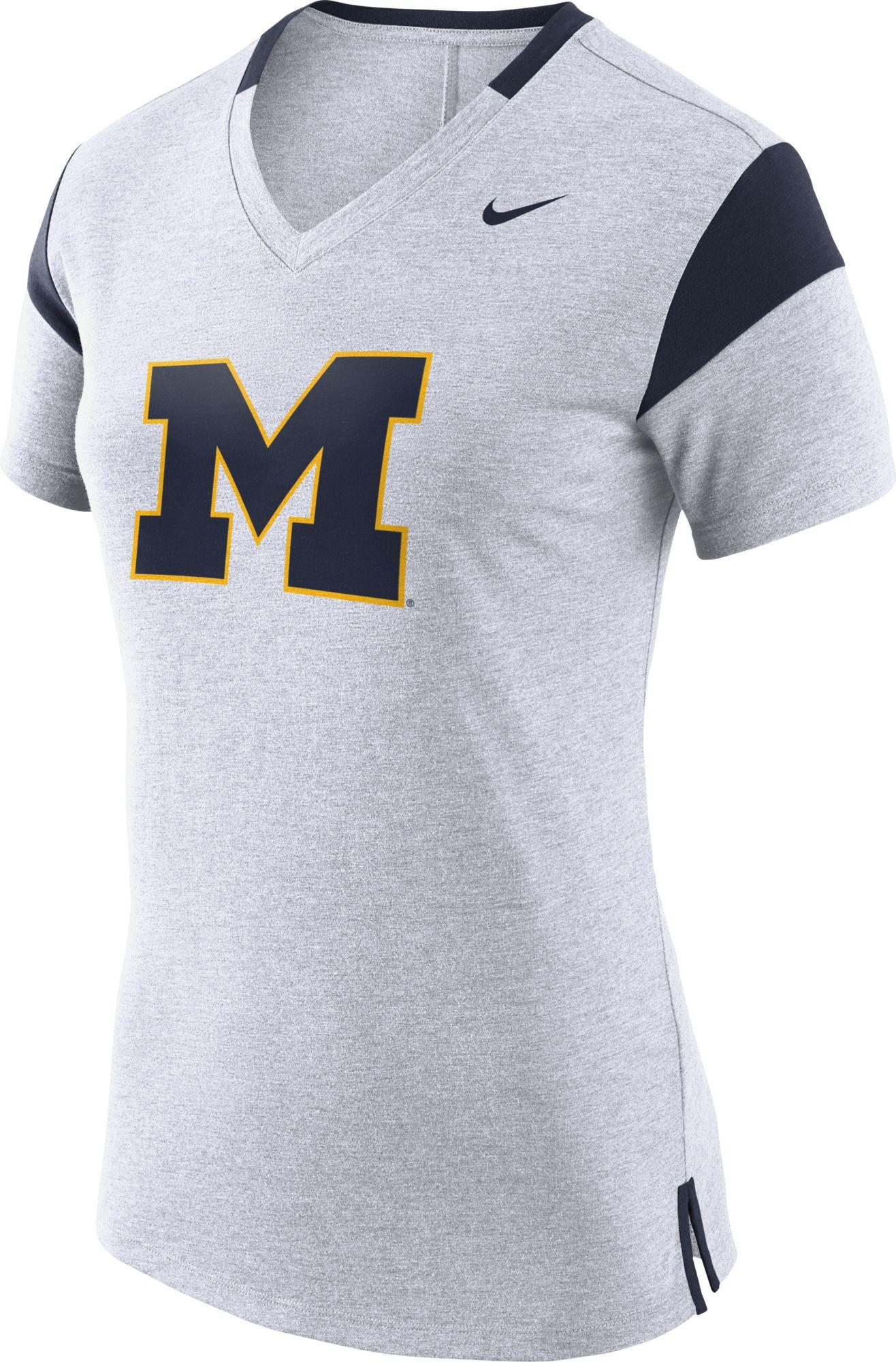 Nike Women's Michigan Wolverines White/Blue Fan VNeck T