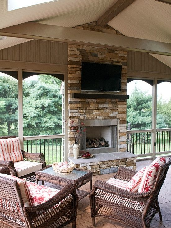 Screened In Porch With An Awesome Stove Fireplace This