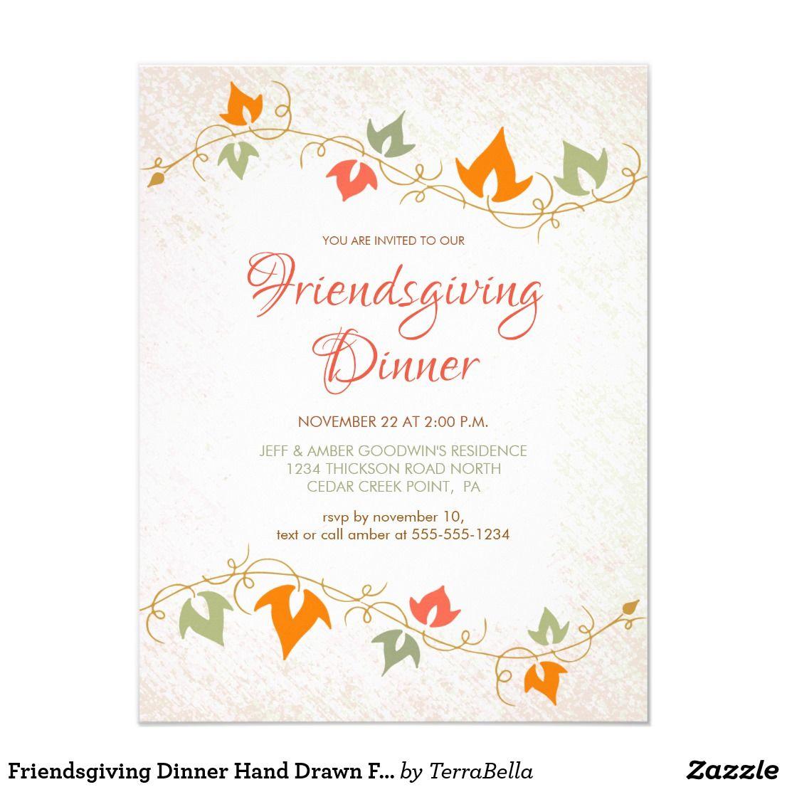 Friendsgiving Dinner Hand Drawn Fall Ivy Vine Invitation