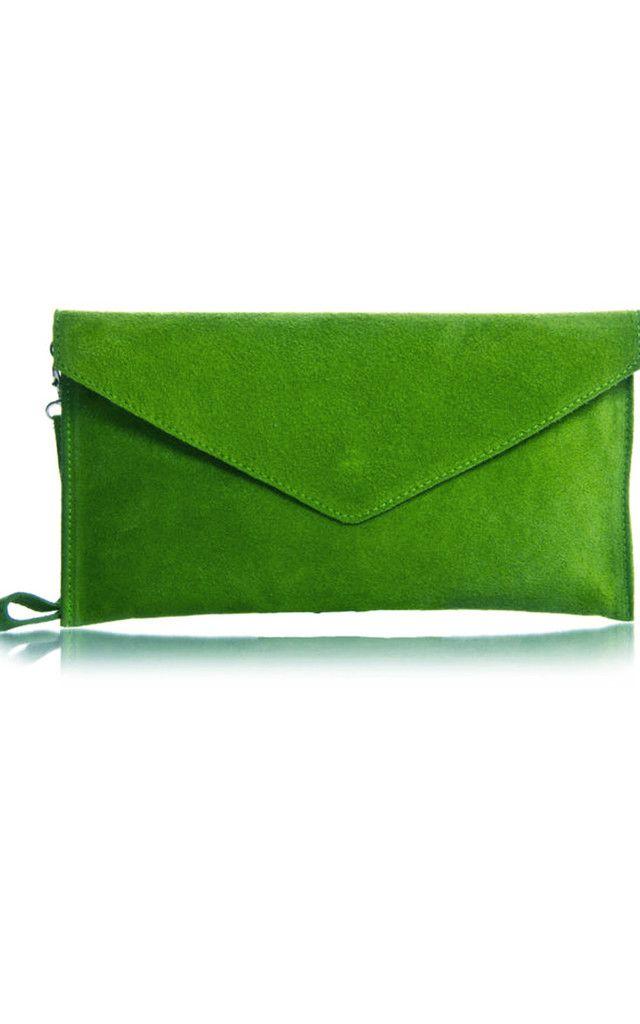 Lime Green Suede Envelope Clutch Bag Silkfred