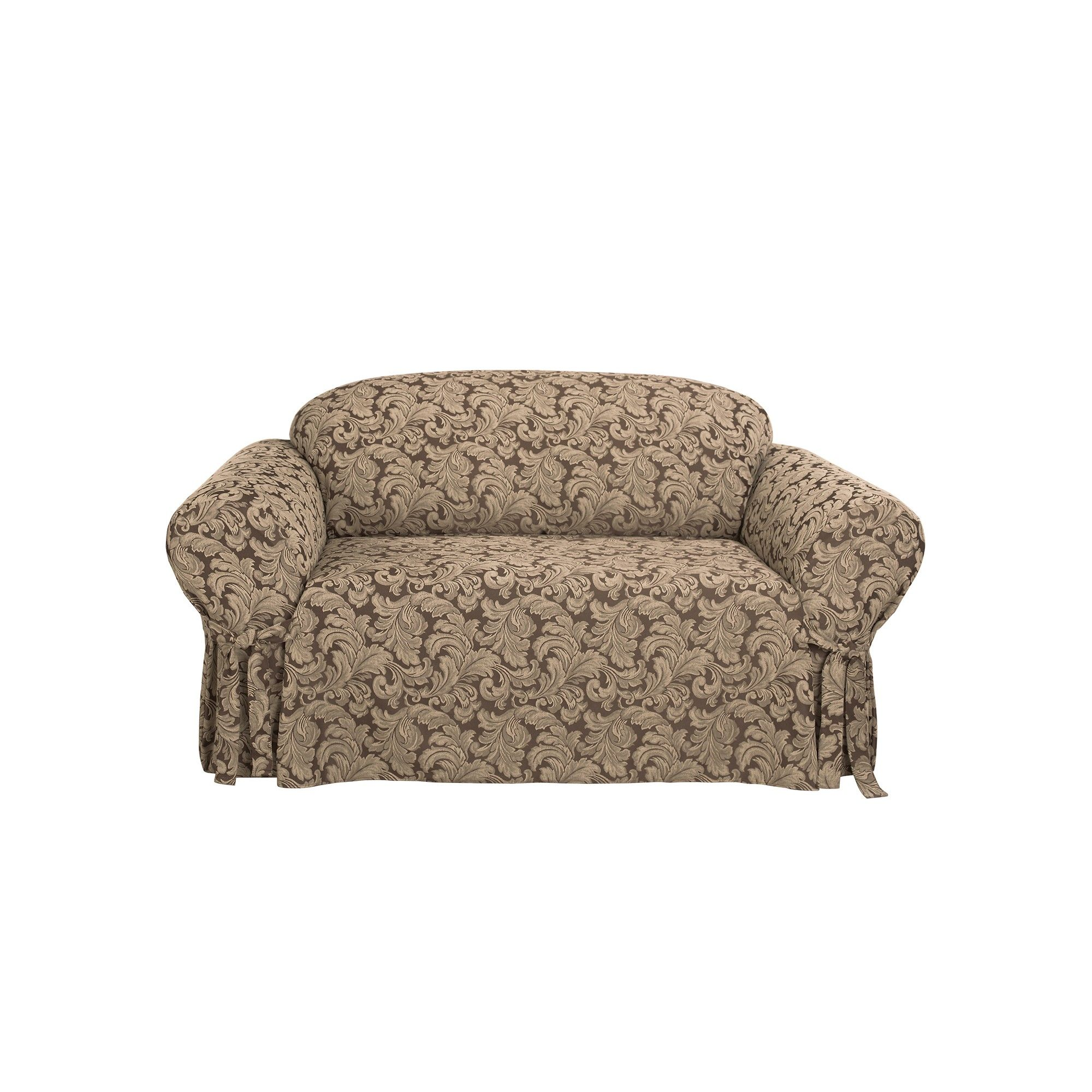 Scroll Sofa Slipcover Brown Sure Fit Loveseat
