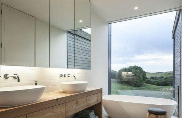 Einbauleuchten Badezimmer ~ Modernes badezimmer holz große spiegel einbauleuchten bäder