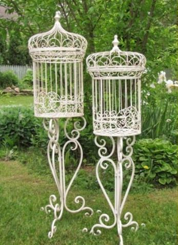 Set 2 Bird Cage Plant Stands Vintage Garden Parties Plant Stand Wrought Iron Patio Furniture
