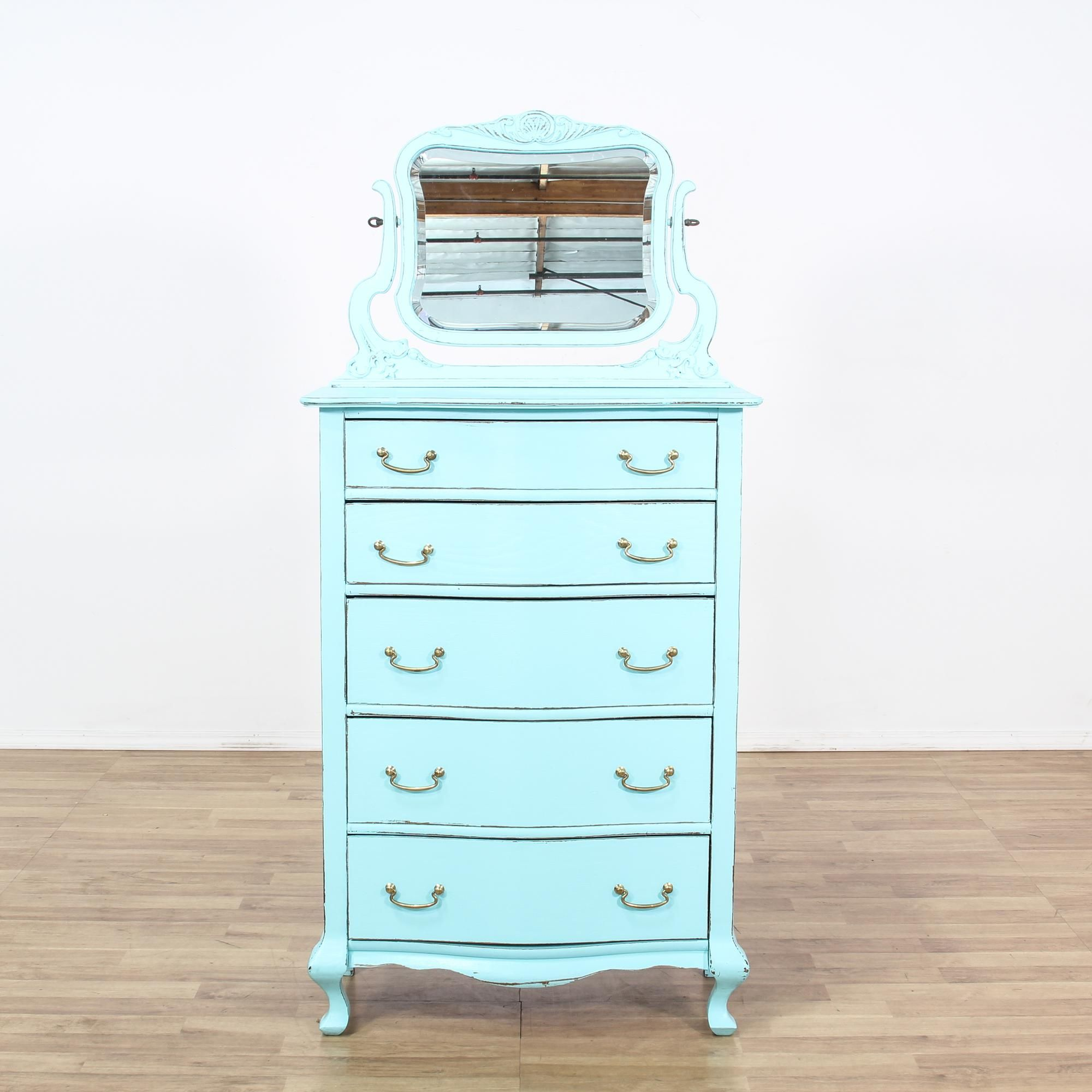 This Pacific Tall Dresser Is Featured In A Solid Wood With An Aqua Paint Finish This Shabby Chic Style Ch Shabby Chic Dresser Shabby Chic Style Tall Dresser