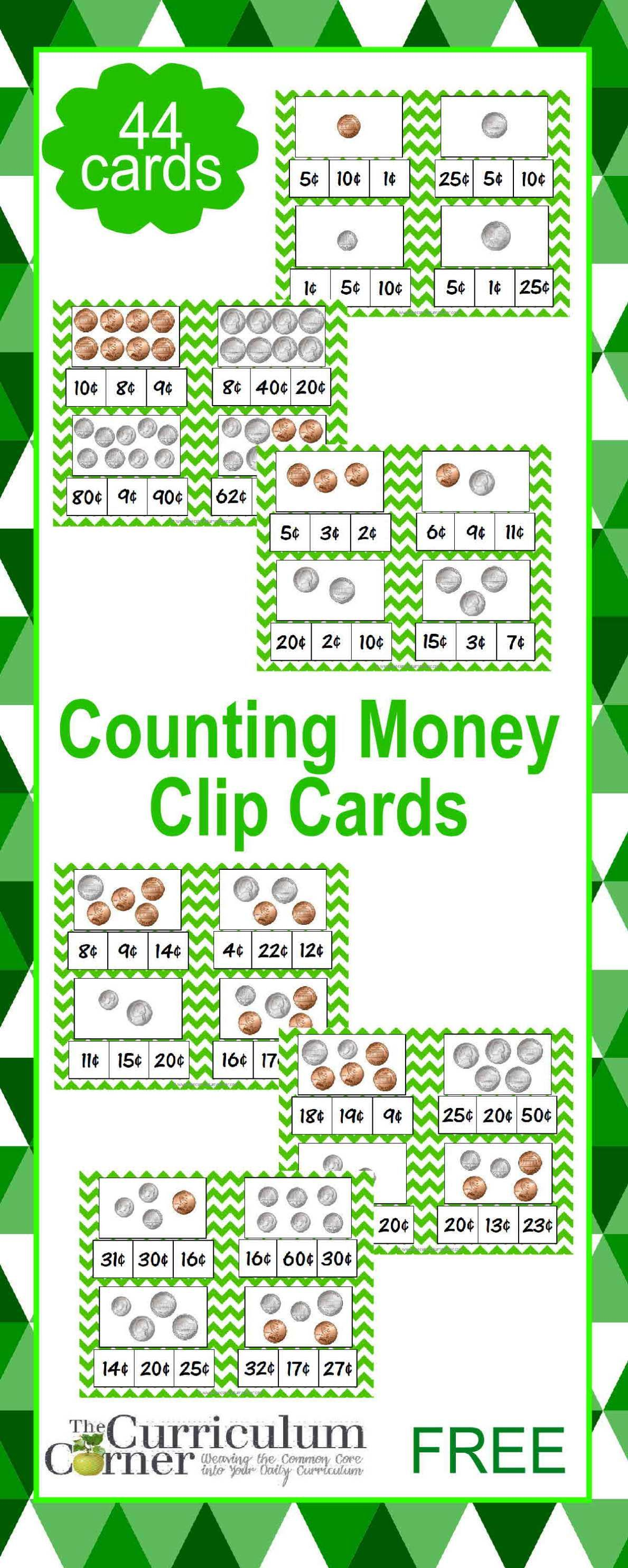 Counting Coins Clip Cards