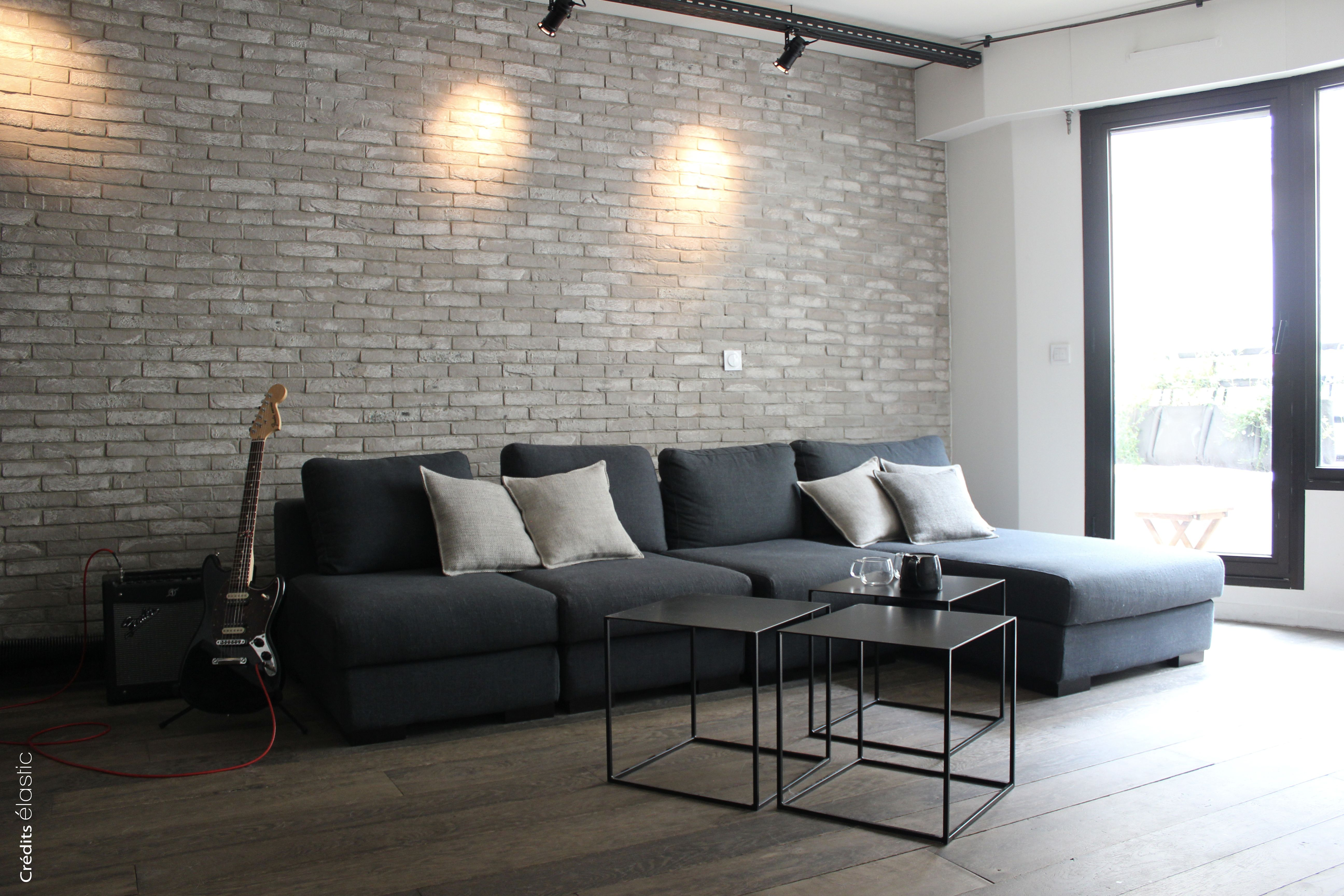 """Mur En Parement Salon salon « esprit loft » avec mur en briques"""" mur de parement"""