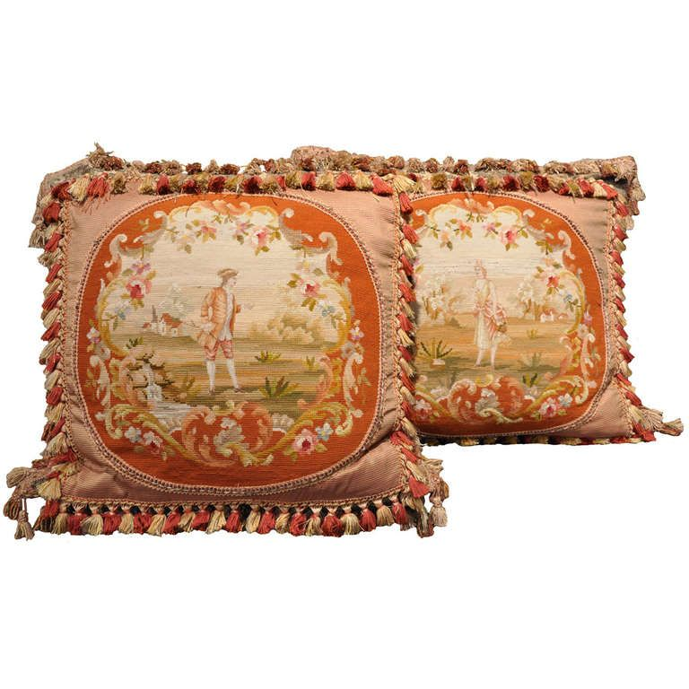 Pair Of Handmade Pillows made with Antique Needlepoint Panels