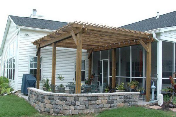 Wooden+Pergola+Plans | Wood Pergola On Patio Natural Wood Patio Pergolas