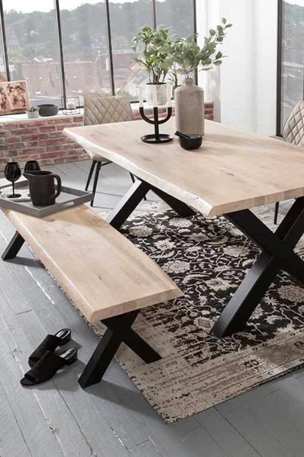 Sitzgruppe Lavronica Mit Baumkantentisch Und Bank In White Wash Eiche In 2020 Sitzgruppe Ungewohnliche Mobel Tisch
