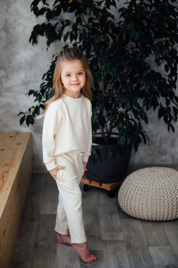 Photo of Off white color sport wear, tracksuit for girls, baby girl sweatsuit, off white tracksuit for girls,  comfortable clothing, toddler suit