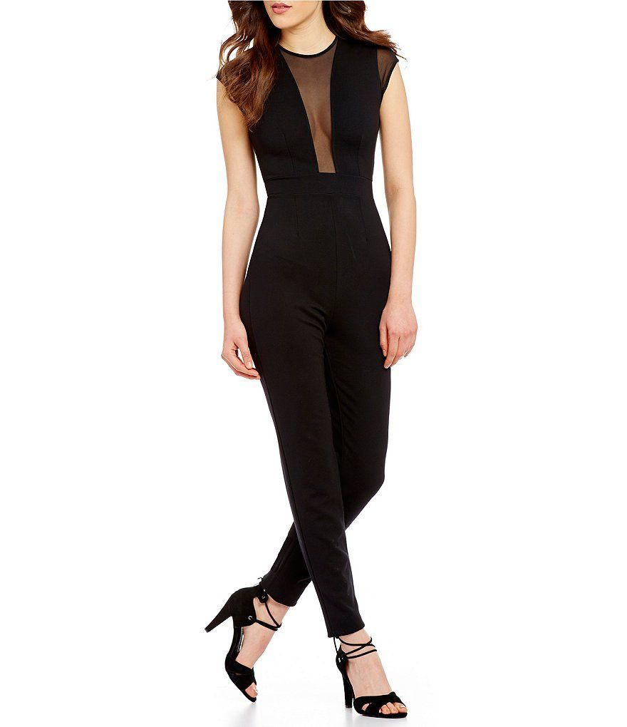 French Connection Marie Chiffon Mesh Inset Cap Sleeve Solid Jumpsuit