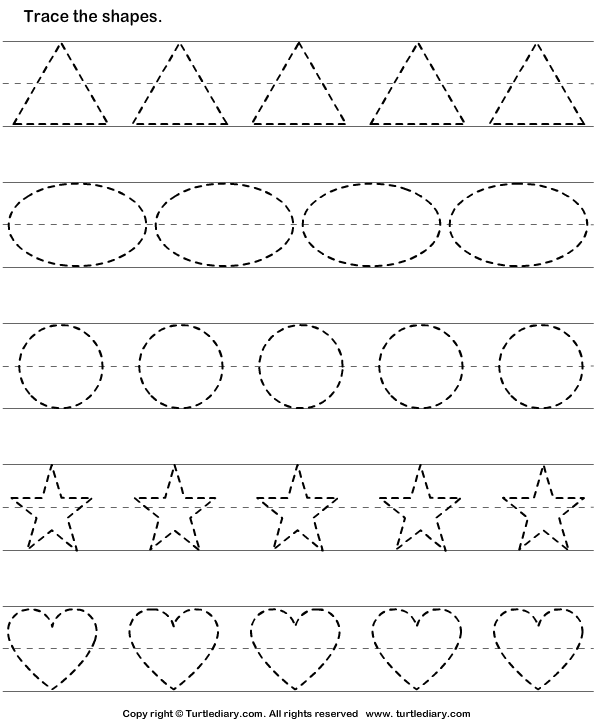Download And Print Turtle Diary S Tracing Basic Shapes Worksheet Our Large Collection Of Math Wo Shape Tracing Worksheets Shapes Worksheets Tracing Worksheets