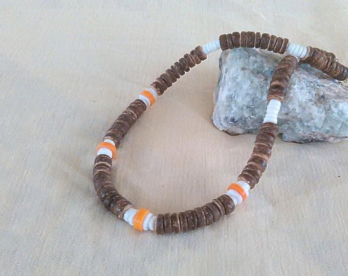 fcffe820e4e67 Man / Guy Necklace Coconut Beads with Coral and Puka Shell / Surfer ...