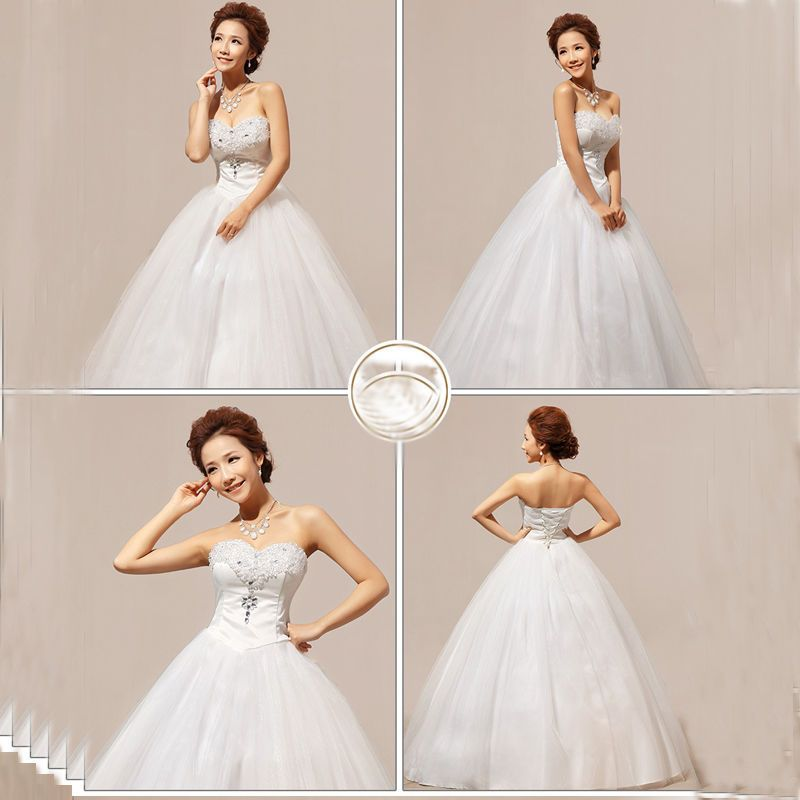 Details about Heart-shaped Diamond Tube Top Strapless Bridal Gown ...