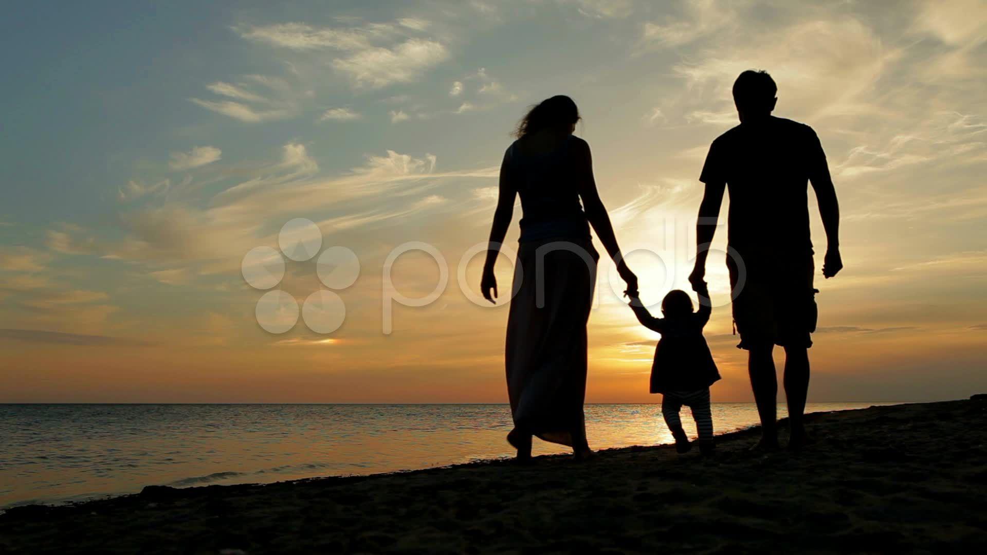Happy Family Walking On Sea Coast Silhouettes Sunset Stock Footage Walking Sea Happy Family Walking Silhouette Cute Baby Girl Wallpaper Silhouette