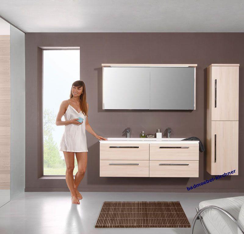 Puris Badmöbel STARLINE 02 Masterbeech 120 cm LED Spiegelschrank - badezimmer spiegelschrank led