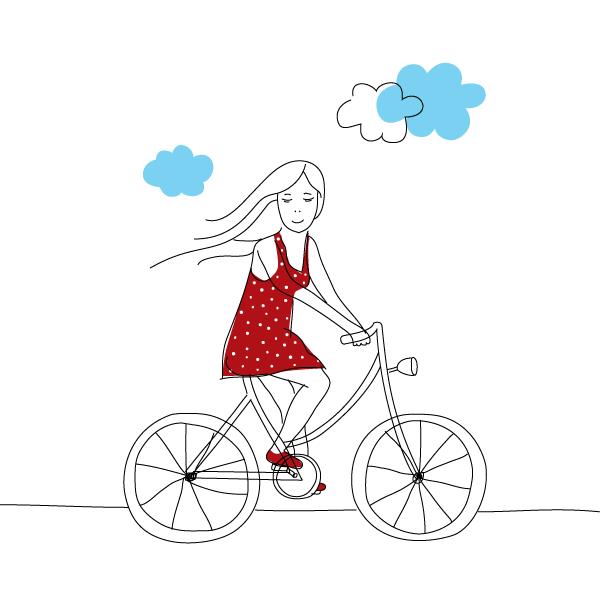 Girl Riding Bike Vector Image Desenho De Bicicleta Vetores Como Desenhar Maos