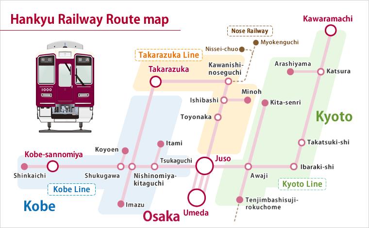 Hankyu Railway Railway line map