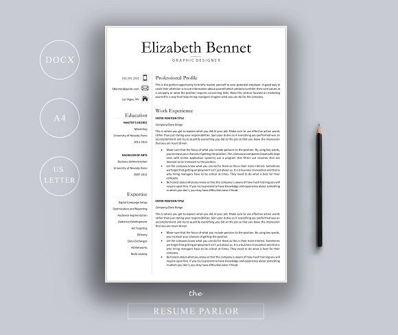 Resume Template A4 Us Letter By The Resume Parlor On Creativemarket Resume Template Professional Resume Template Resume Design Template