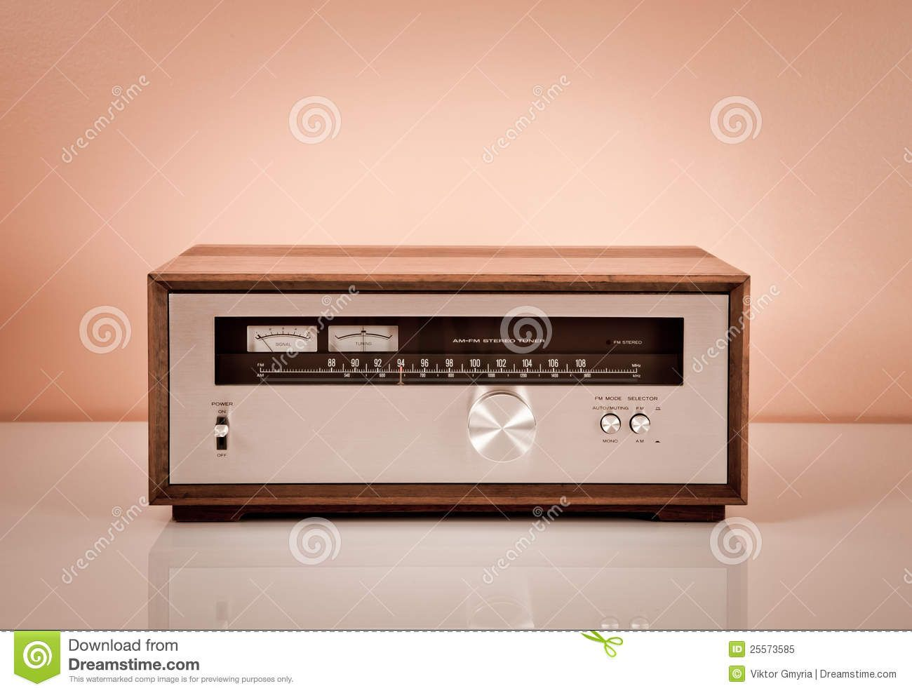 Vintage Stereo Radio Tuner In Wooden Cabinet