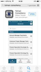 Nieuw: vanaf vandaag te vinden in de Apple store voor iPad en iPhone de Tolman Consultancy app.  Voor vacatures, nieuws in farma, food en medical.    In samenwerking met Opolo webdesign