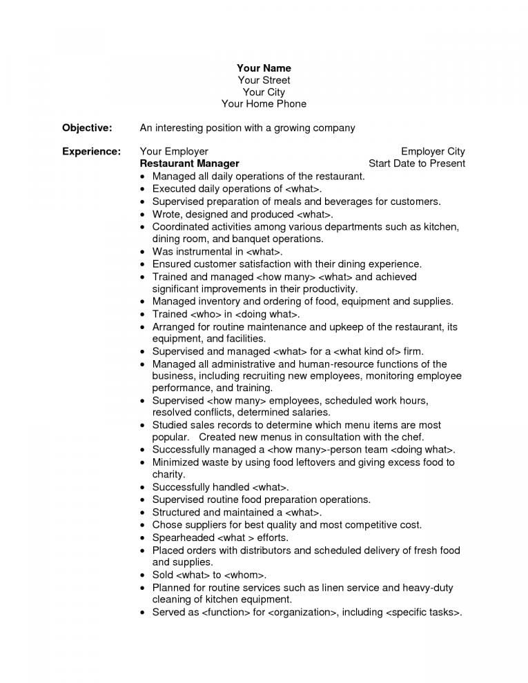 Resume Objective Examples For Restaurant Position When You Want