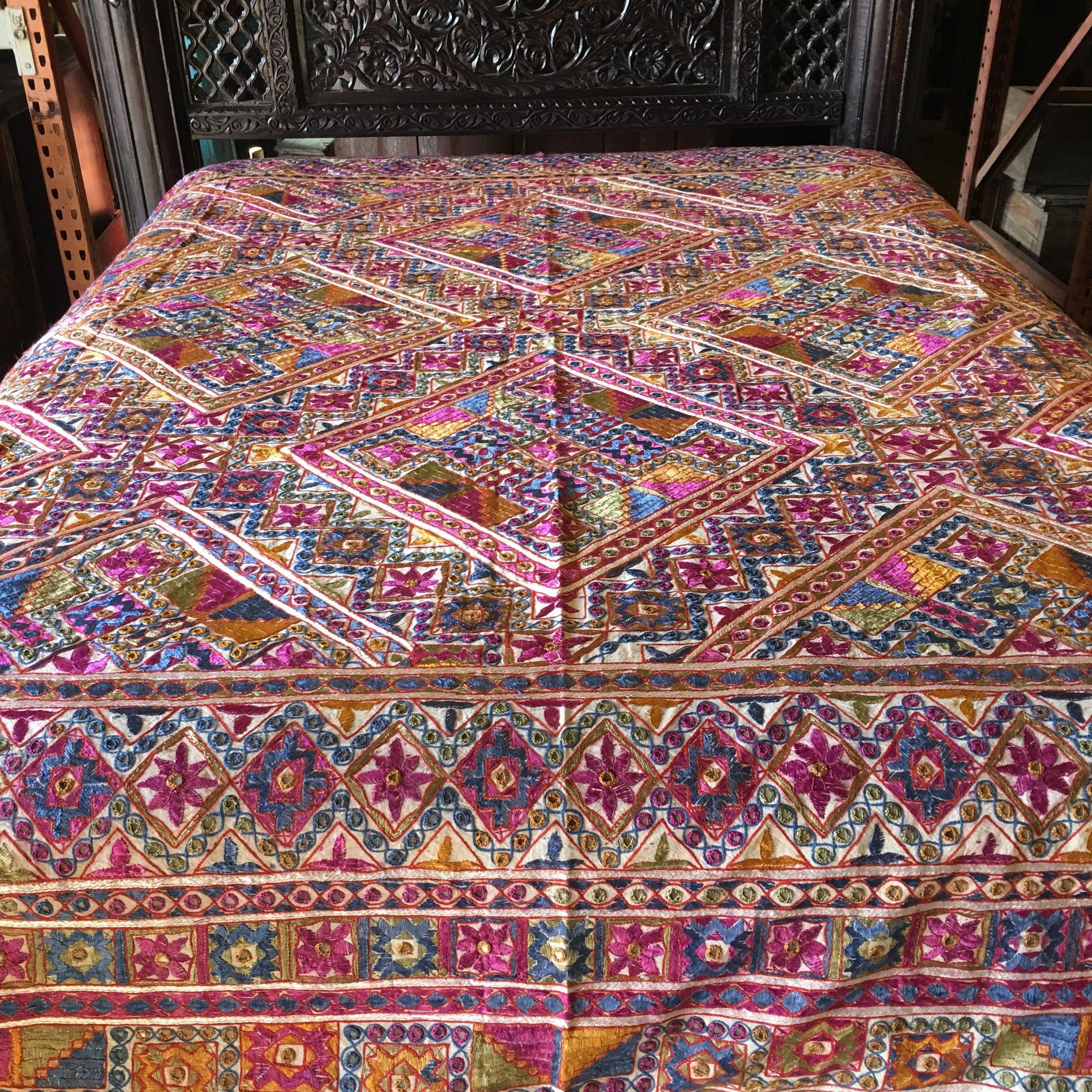 Multi Color Indian cotton patchwork mirror bedding