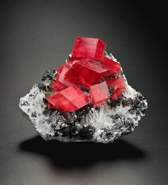 Rhodochrosite Red With Tetrahedrite Bluish Quartz White