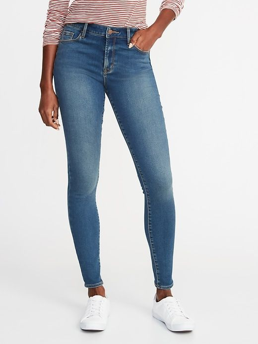 b318743222299 Old Navy Women's Mid-Rise Built-In Warm Rockstar Super Skinny Jeans Angel  Island Big And Tall Size 14