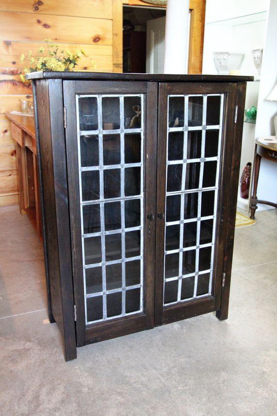 Reclaimed Wood Cabinet Doors reclaimed wood cabinet/hutch lead glass doorsonewoodenplank