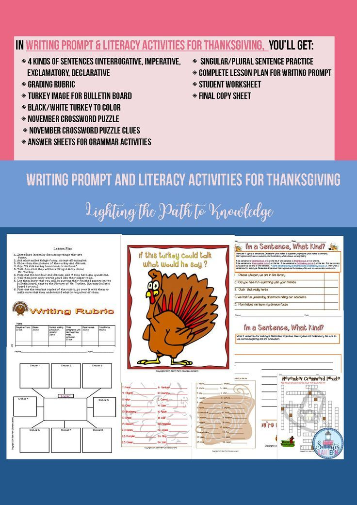 Writing Prompt  Literacy Activities for Thanksgiving ***All