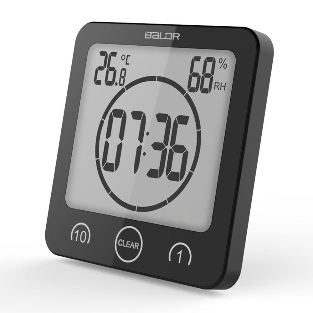 Digital Bathroom Wall Clock Waterproof Suction Cups Countdown Timer Humidity Thermometer Alarm Clock Wall Clock Digital Bathroom Clock Bathroom Wall Clocks