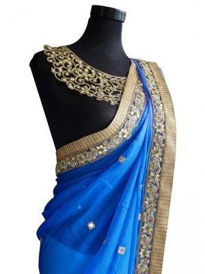 Blue ombre saree
