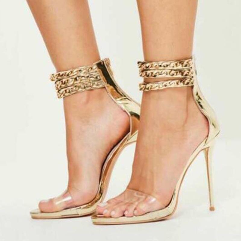287e7a7e5 MetalChain Transparent Open Toe Ankle Wrap Stiletto High Heel Sandals